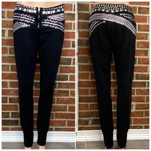 BEBE Black Studded Leggings Size Large